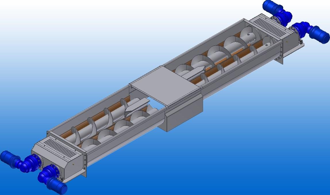 Image of a custom screw conveyor designed by Wykes